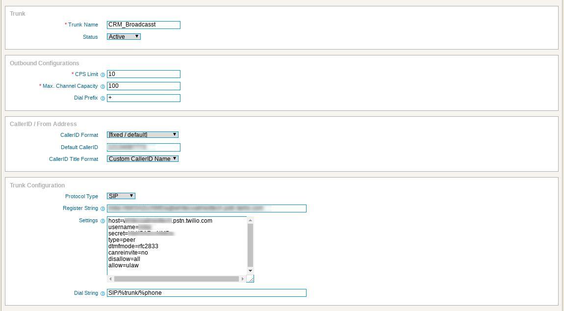 Twillio Elastic SIP Trunk configuration with ICTBroadcast