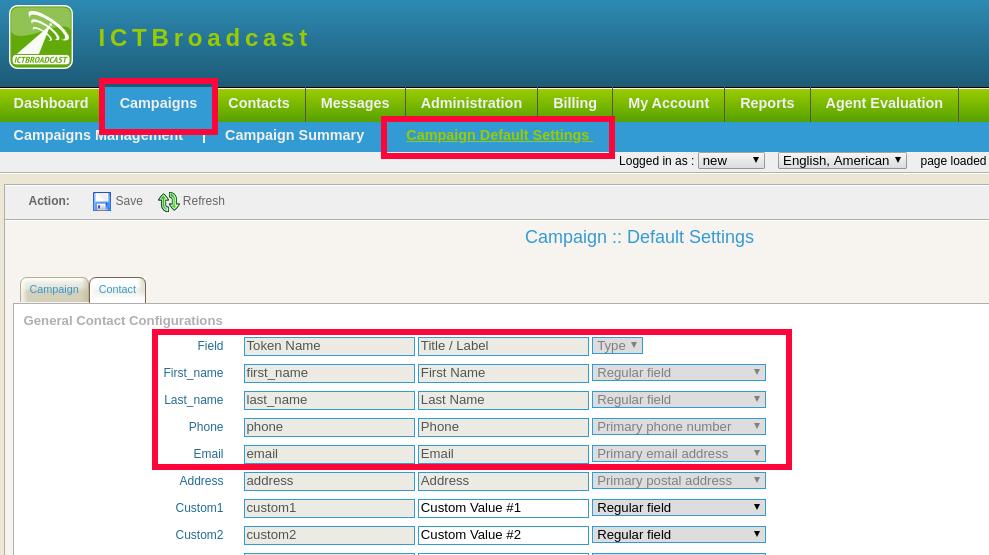 default field settings in ICTBroadcast