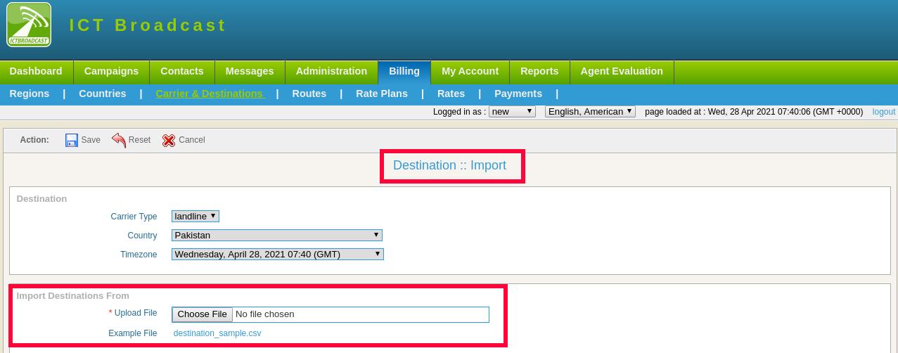 destination import in ICTBroadcast