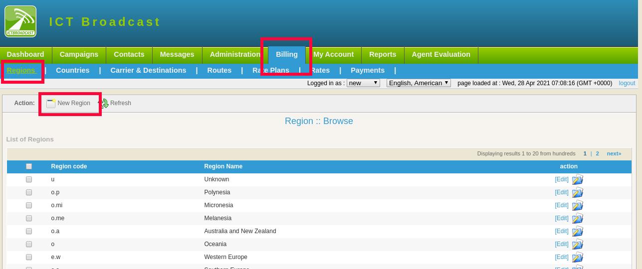 region list in ICTBroadcast