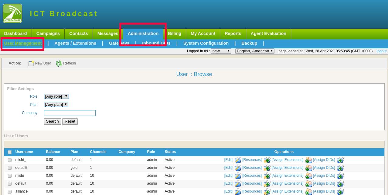 ICTBroadcast User Management